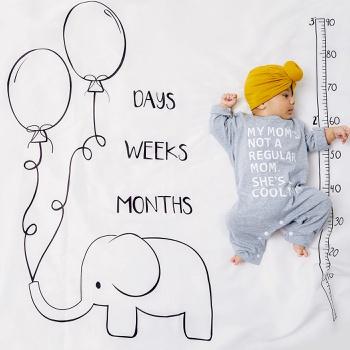 Elephant Animal Newborn Infant Photo Background Monthly Growth Cloth Cartoon Cute Baby Milestone Blanket