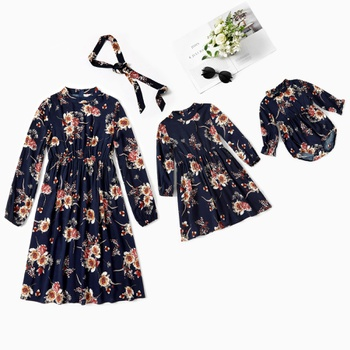 Mommy and Me Floral Print Long-sleeve Dresses