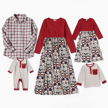Mosaic Family Matching Cotton Set(Floral Dresses-Plaid Front Button Shirts-Stripe Tee and Rompers)
