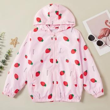 Cute Strawberry Allover Print Zipper Hooded Jacket Coat
