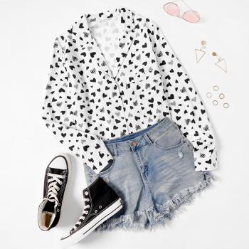 Lapel Heart-shaped full print long sleeve casual Shirt