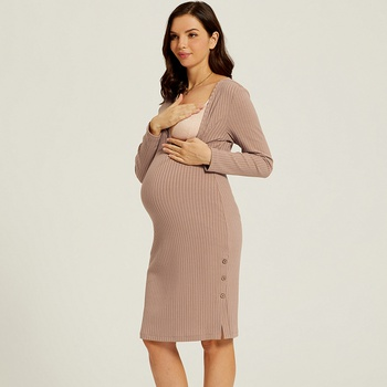 Maternity Round collar Plain Khaki Normal Slip Long-sleeve Nursing Dress