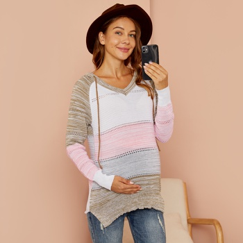 Hooded Stripe Contrast Color Hollowed-out Pregnant Sweater