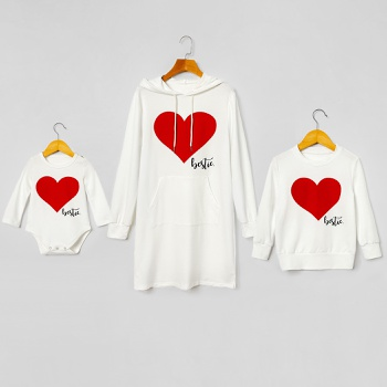 Mosaic Bestie Hooded Dress Sweatshirt for Mommy and Me