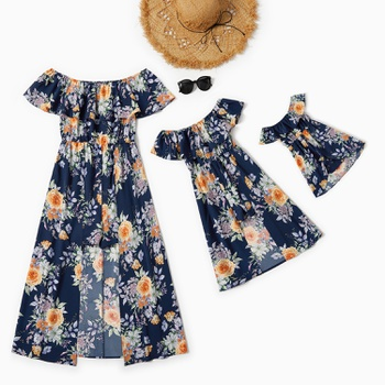 Mommy and Me Unique Floral Print Off-shoulder Ruffle Jumpsuits