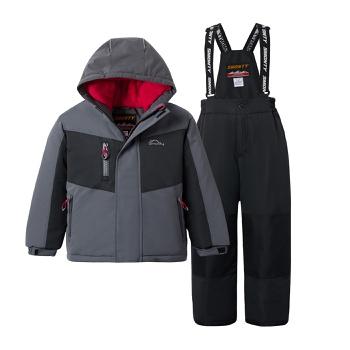 2-piece Kid Splice Hooded Jacket and Snow Bib Ski Suit