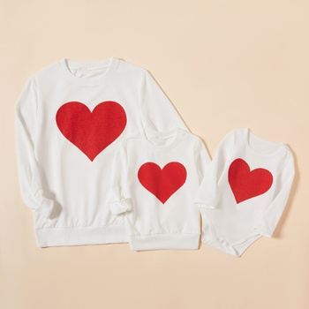 Love Pattern White Sweatshirts for Mommy and Me