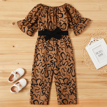 Fashionable Leopard Allover Print Bowknot Flare-sleeve Jumpsuit