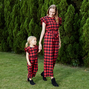 Mommy and Me Plaid Flounce Decor Jumpsuits