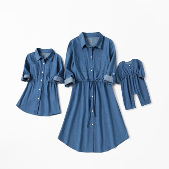 Mommy and Me Denim Fitted Dresses