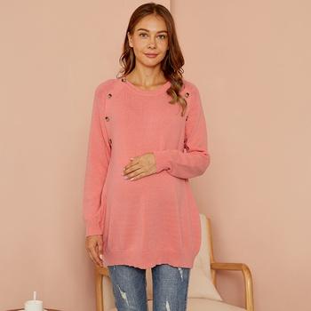 Maternity Round collar Plain Pink Sweater