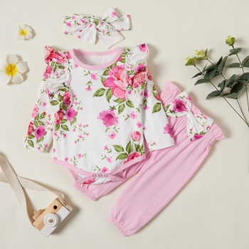 3pcs Baby Girl Sweet Floral Baby's Sets Long Sleeve Infant Clothing Outfits Cute Romper