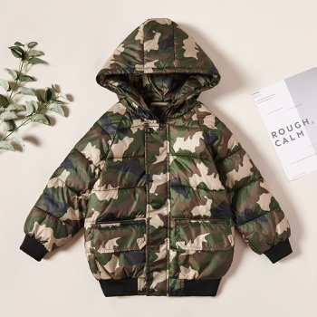 Trendy Camouflage Zipper Hooded Down Jacket Coat