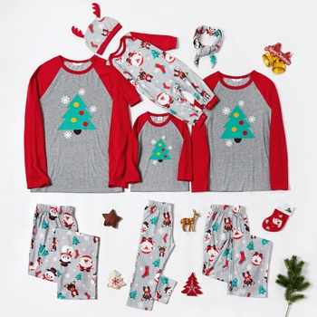 Family Matching Cute Cartoon Christmas Tree Santa Print Pajamas Sets (Flame resistant)