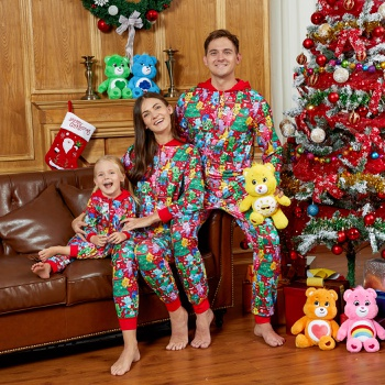 Care Bears Family Matching Christmas Tree Pajamas Onesies and Washable Mask(Flame Resistant)