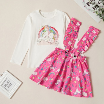 Trendy Unicorn Print Longsleeves Tee and Allover Print Suspender Dress Set