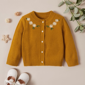 Baby Girl Retro Floral Sweaters