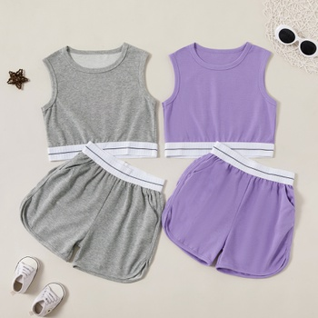 Fashionable Sport Solid Tank and Shorts Sets