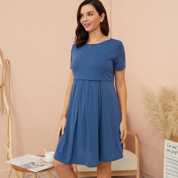 Maternity Round collar Plain Knee length A Short-sleeve Nursing Dress