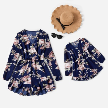 Floral Print Long-sleeve Rompers for Mommy-girl-baby