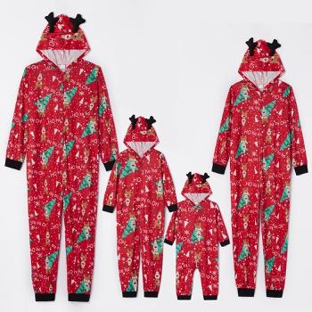Family Matching Cute Deer and Christmas Tree Print Hooded Onesies Pajamas (Flame resistant)