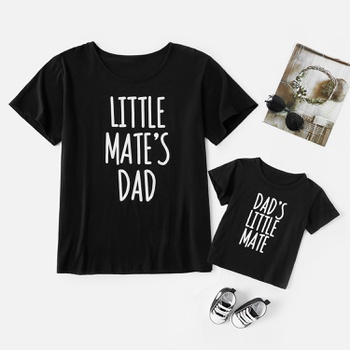 Letter Print Black T-shirts for Dad and Me