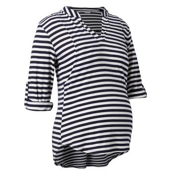 Casual Striped  Long-sleeve Nursing Tee