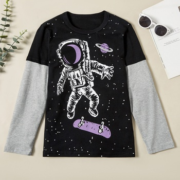 Fashionable Spaceman Colorblock Long-sleeve Tee