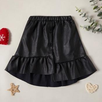 Trendy Solid PU Ruffled Elasticized Skirt