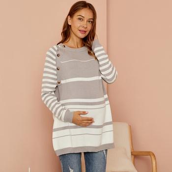 Maternity Round collar Stripes Plain Silver Sweater