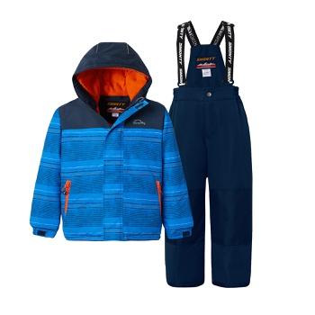 2-piece Kid Boy Striped Hooded Jacket and Snow Bib Ski Suit