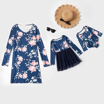 Floral Print Matching Long Sleeve Dresses for Mom and Me