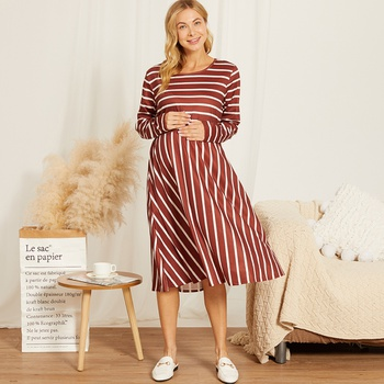 Maternity Round collar Stripes Color block Red Knee length Parachute skirt Long-sleeve Nursing Dress