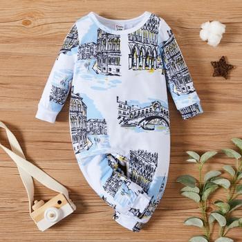 Baby Unisex Building Print Jumpsuits
