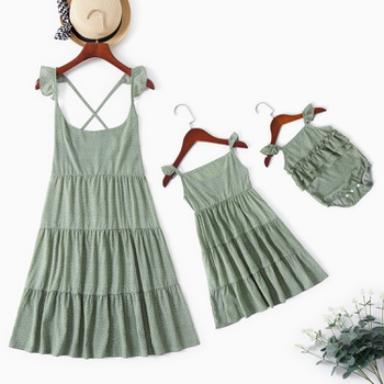 Polka Dot Print Green Color Matching Suspender Dresses