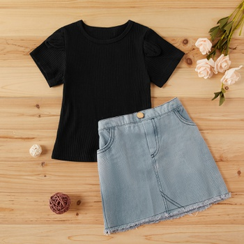 2-piece Baby / Toddler Girl Casual Solid Top and Denim Skirt Set