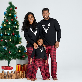 Family Matching Christmas Reindeer Top and Plaid Pants Pajamas Sets (Flame Resistant)