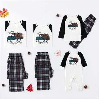 Family Matching Leopard Christmas Tree Print Plaid Pajamas Sets (Flame Resistant)