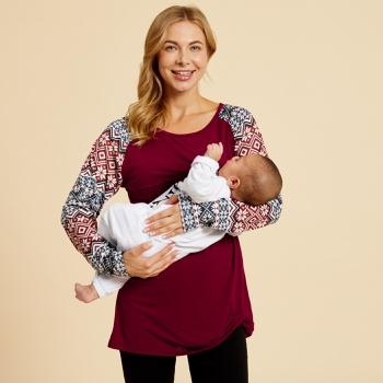 Maternity Round collar Plain Burgundy Long-sleeve Nursing Tee