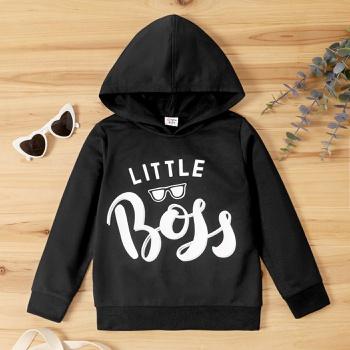 Kid Boy Letter Print Hooded Sweatshirt