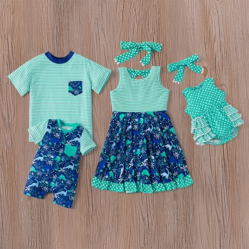Mosaic Summer New Family Matching - Sibling Dinosaur Stripe Polka Dots Dresses Tee Romper for Girl - Boy - Baby