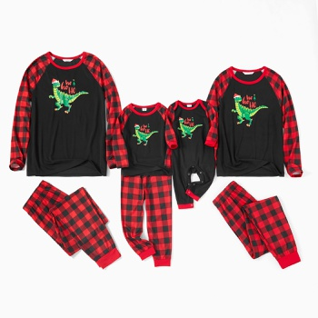Family Matching Dinosaur Top Plaid Christmas Pajamas Sets(Flame Resistant)