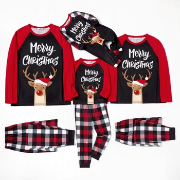 Family Matching Reindeer Top Plaid Christmas Pajamas Sets(Flame Resistant)