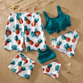 Pineapple Print Colorblock Family Matching Swimsuits