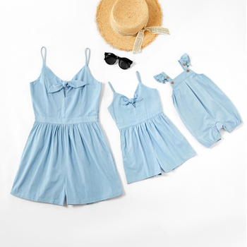 Mommy and Me Solid Bowknot Decor Tank Rompers