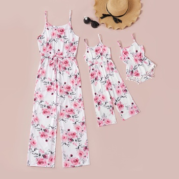 Mommy and Me Floral Print Sling Long Jumpsuits