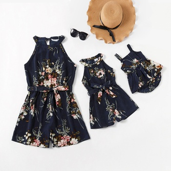 Floral Print Sleeveless Rompers for Mommy and Me