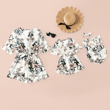 Mommy and Me Floral Print Mid-sleeve V-neck Rompers