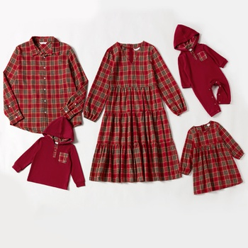 Mosaic Family Matching Red Plaid Cotton Sets
