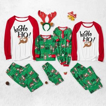 Family Matching Sloth Print Christmas Pajamas Sets (Flame Resistant)